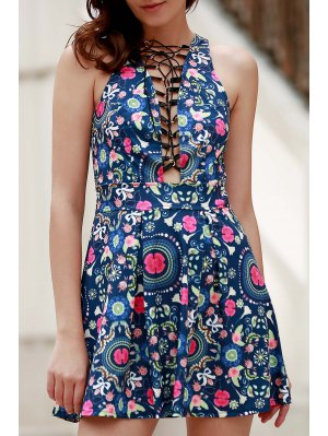 Flower Print Plunging Neck Sleeveless Dress - Blue