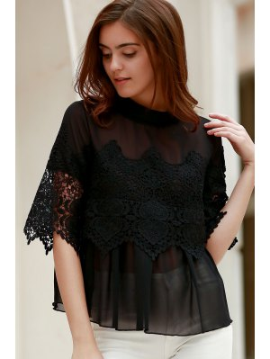 Lace Chiffon Splicing Round Neck 3/4 Sleeve Blouse - Black