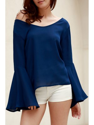 Blue Loose Scoop Collar Flare Sleeve Blouse - Blue
