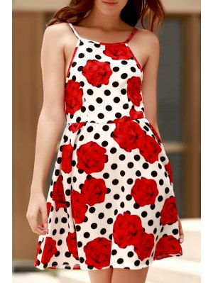Backless Polka Dot Floral Print Cami Dress - Red