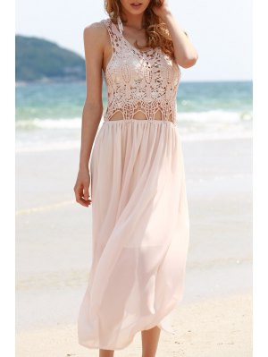 Lace Chiffon Spliced Sleeveless Maxi Dress - Shallow Pink