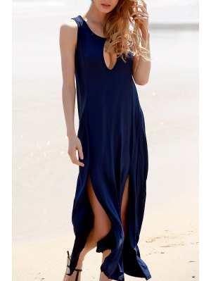 Keyhole Design High Slit Long Dress - Cadetblue