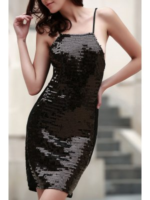 Black Sequins Spaghetti Straps Bodycon Dress - Black