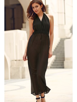 Black Backless Cut Out Halter Sleeveless Dress - Black