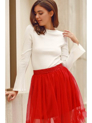 Solid Color Round Neck Flare Sleeve T-Shirt - White