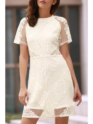 Openwork Lace Hook White Dress - White 2xl