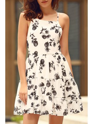 Floral Print Tiered Chiffon Swing Dress - White