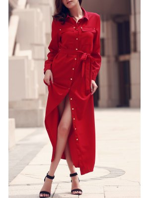 Long Sleeve Button Up Maxi Dress - Red