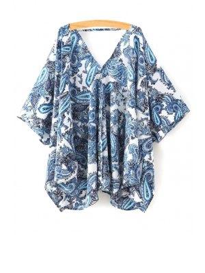 Paisley Print Half Sleeve Kimono Blouse - Blue