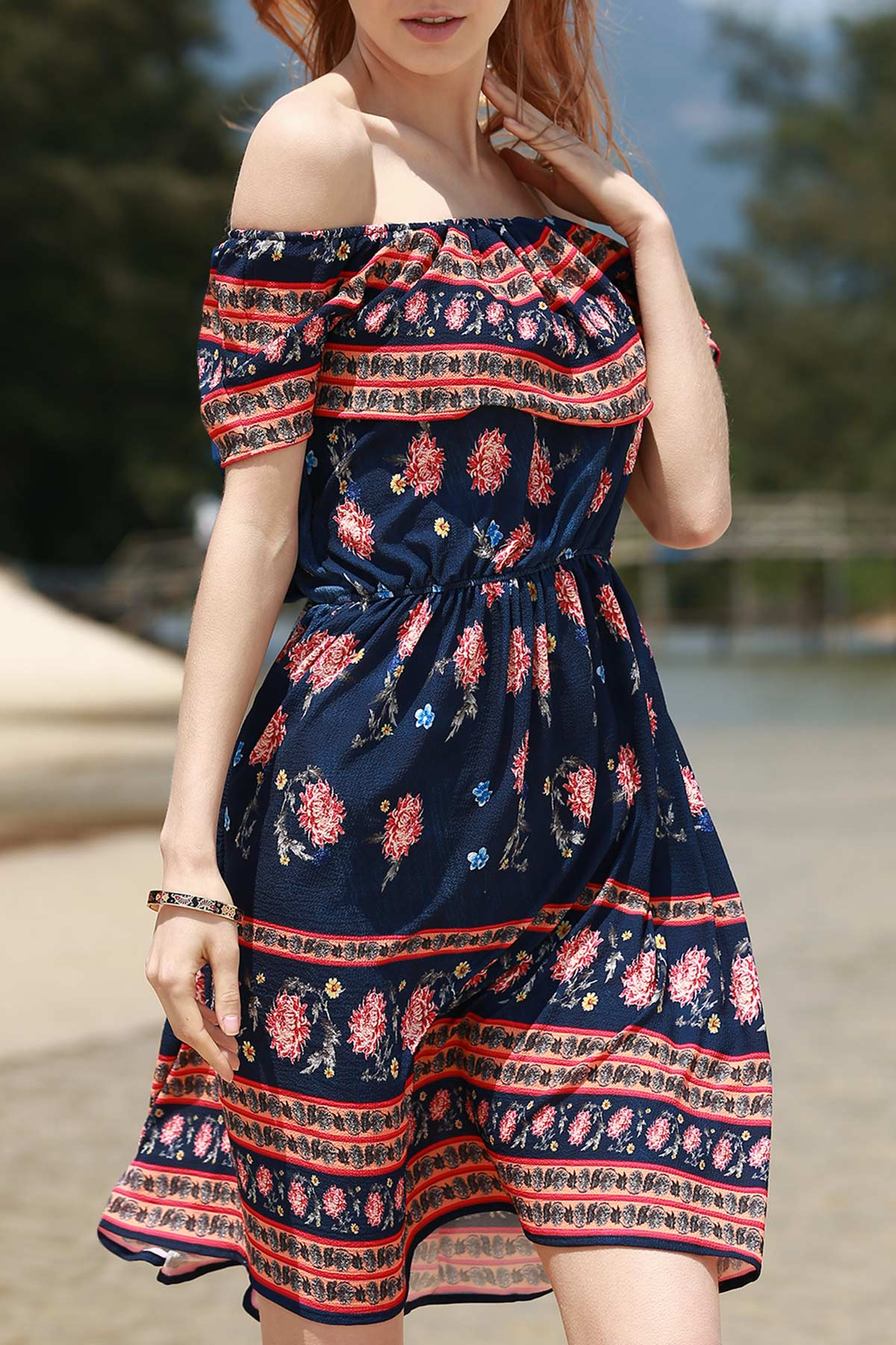 Sleeveless Off The Shoulder Retro Floral Print Dress