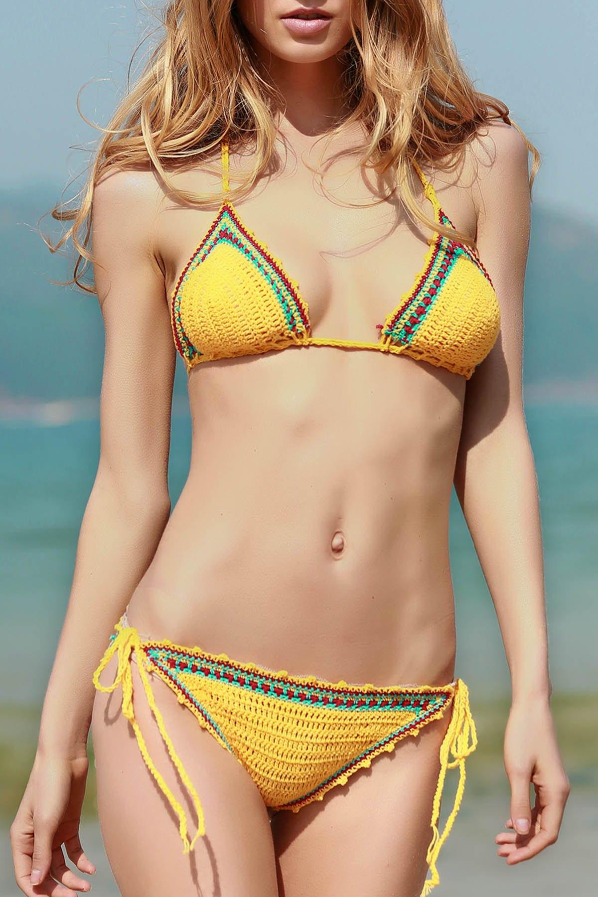 Lace Up Spaghetti Strap Crocheted Bikini Set