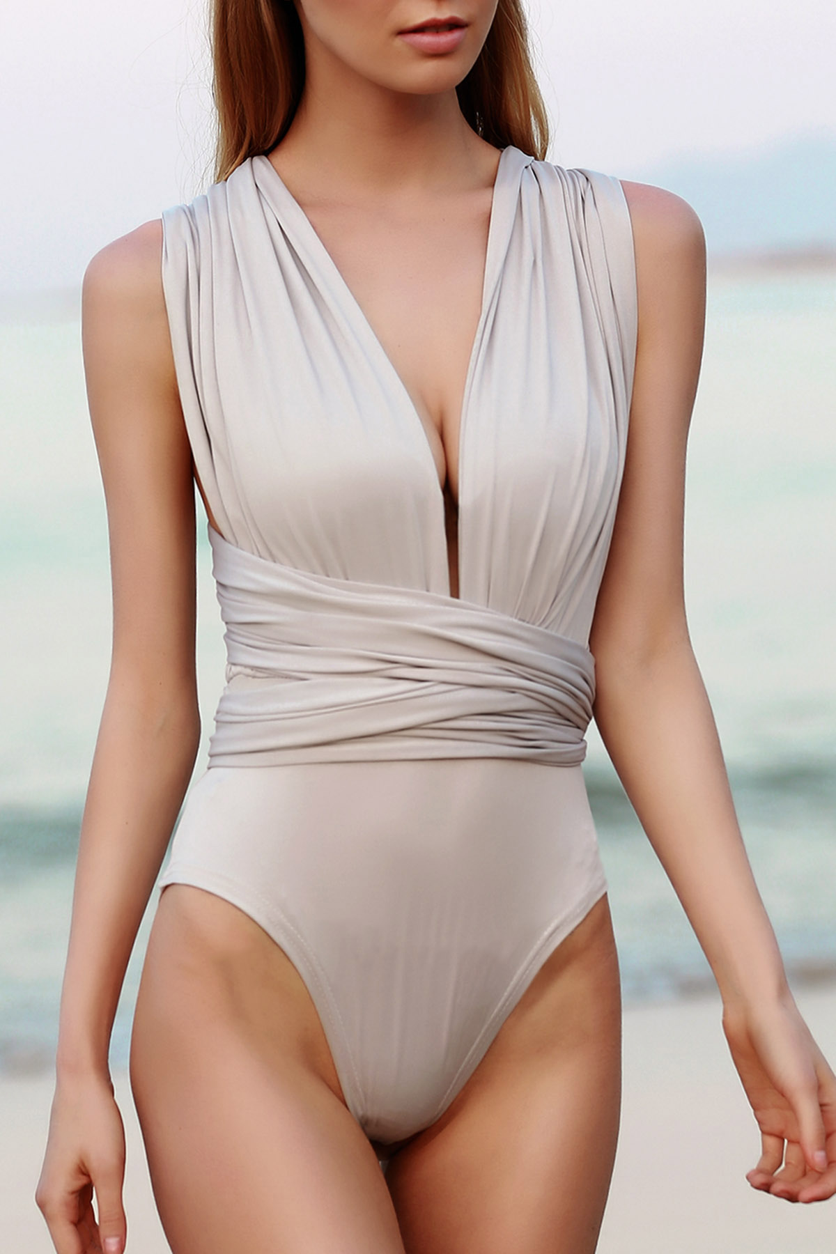 Solid Color Backless Convertible Bodysuit