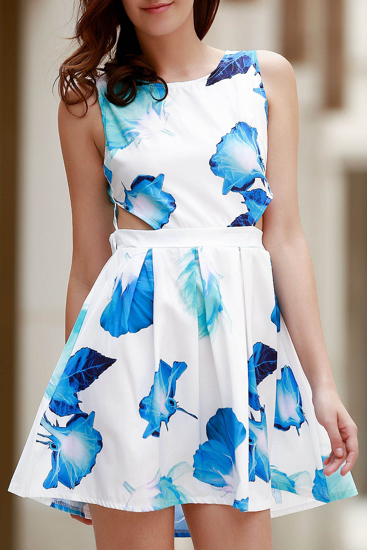 Round Neck Sleeveless Bowknot Floral Print Dress