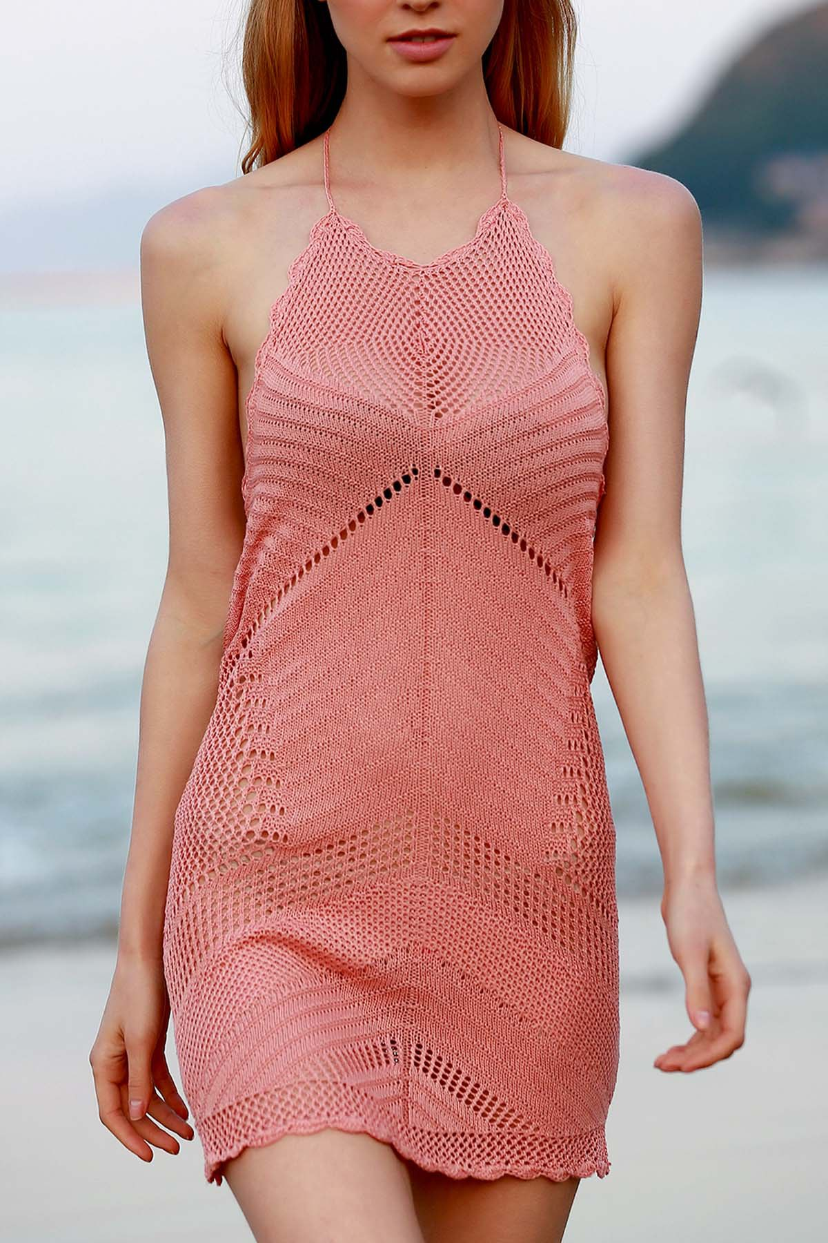 Halter Pink Crochet Cover Up