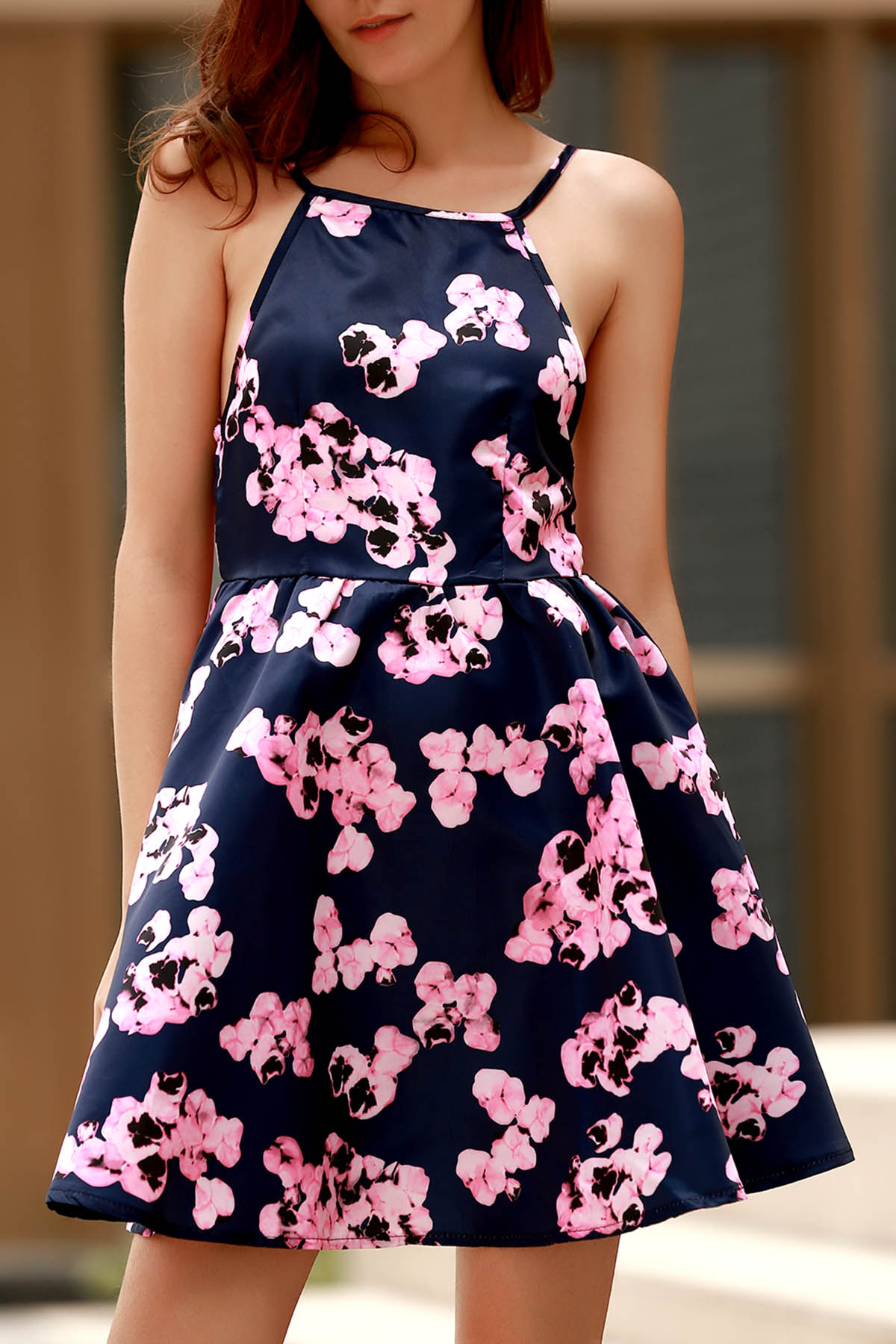 Spaghetti Straps Open Back Floral Print Dress