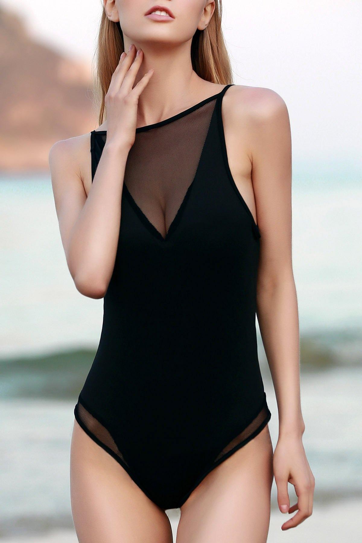 Buy See-Through Hollow Back Bodysuit BLACK 2XL