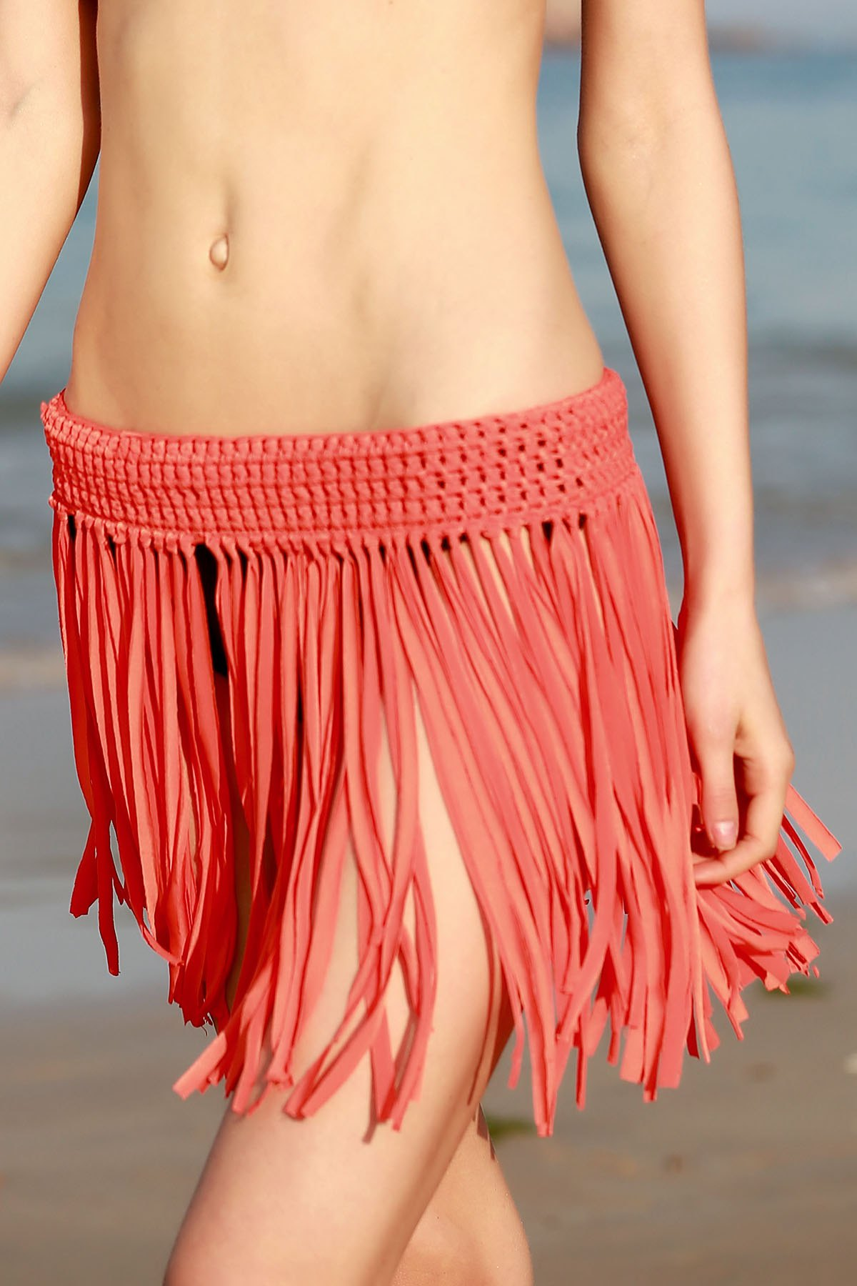 Solid Color Tassels Crochet Skirt