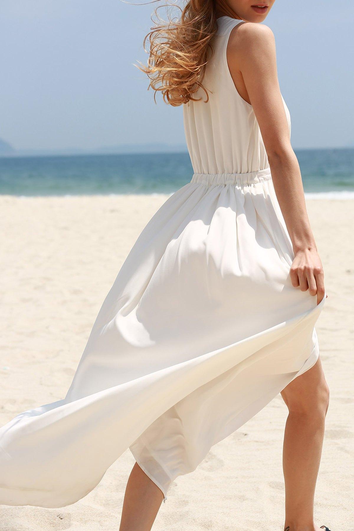 Plunging Neck Sleeveless White High Slit Chiffon Dress