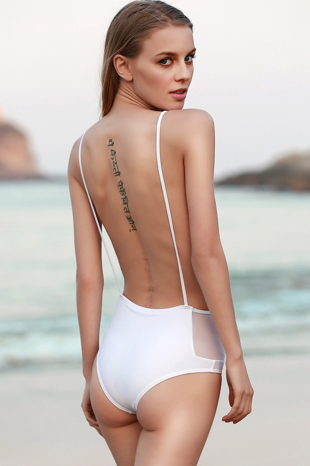 Spaghetti Straps Solid Color Backless One-Piece Swimwear