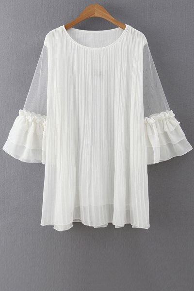 Jewel Neck 3/4 Sleeve Ruffles Voile Spliced Dress