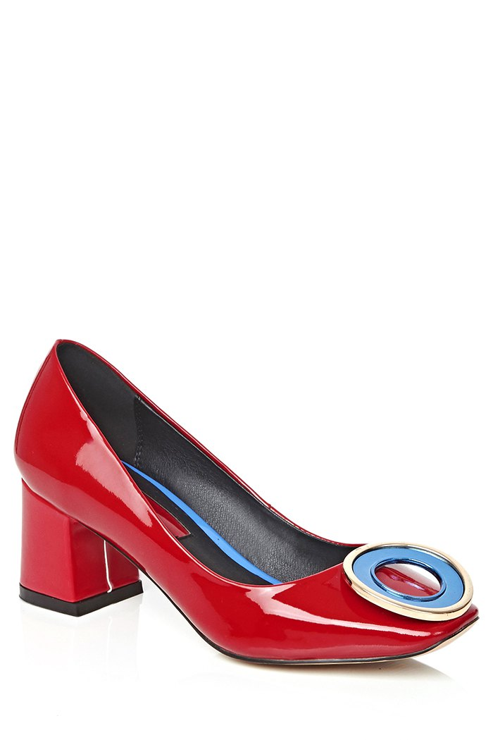 Square Toe Metal Black Pumps - RED