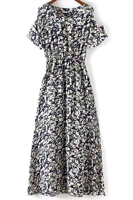 Round Collar Cold Shoulder Tiny Flower Print Dress