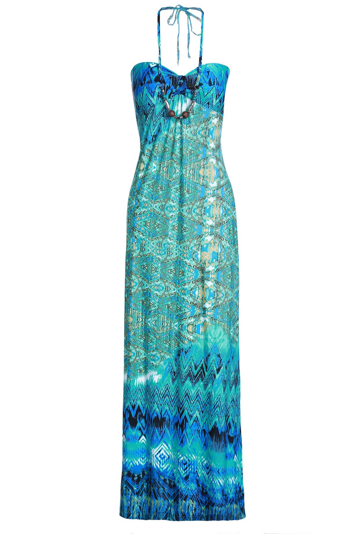 Halter Neck Jewelled Printed Dress