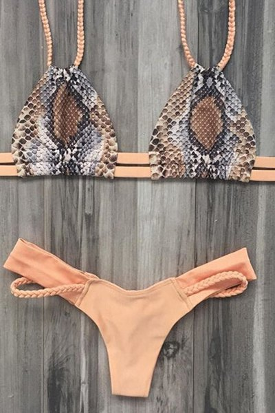 Braided Spaghetti Straps Printed Bikini Set