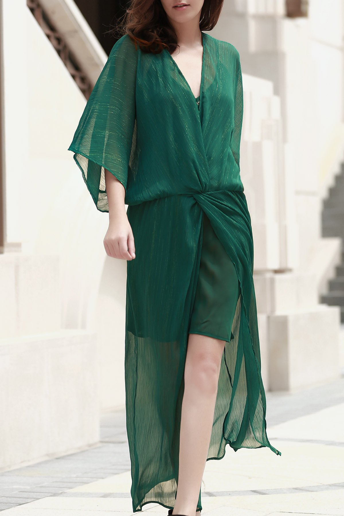 Cami Green Dress and Chiffon Maxi Dress Twinset