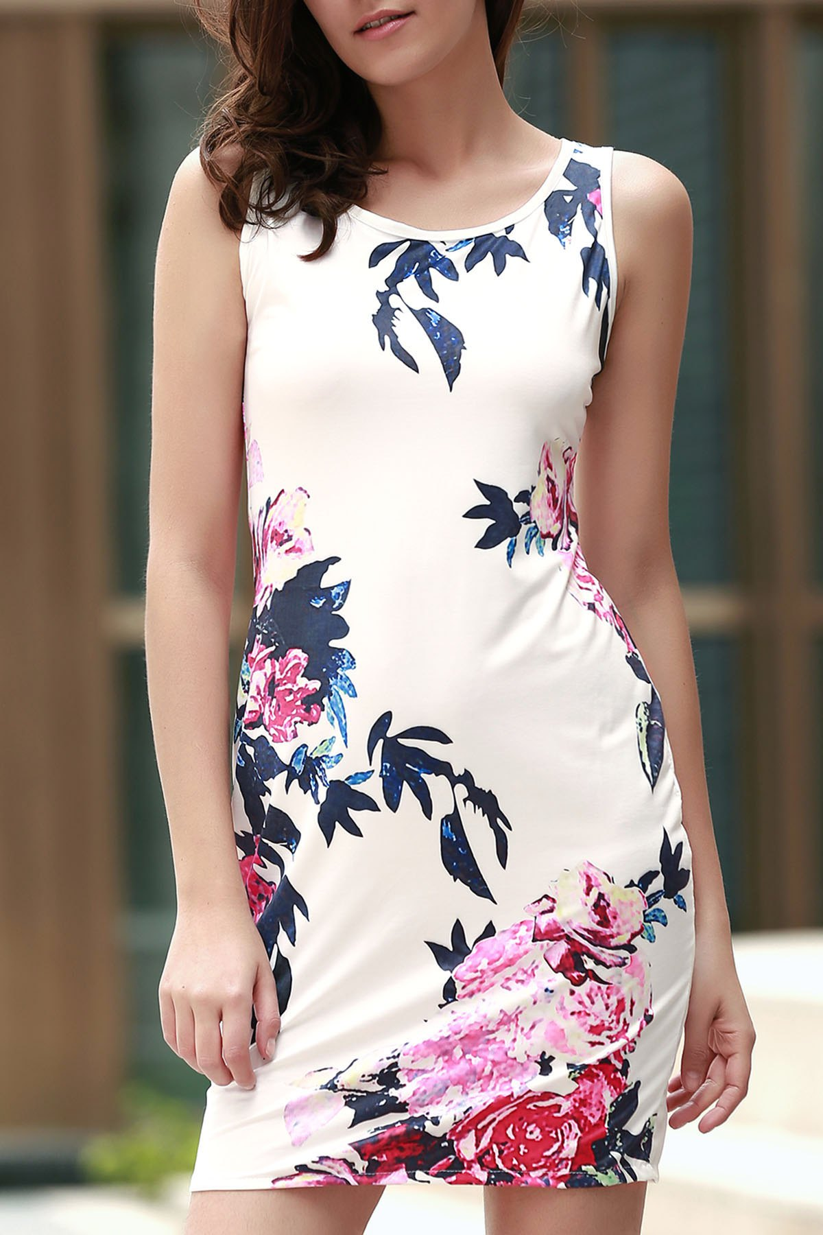 Round Collar Sleeveless Floral Bodycon Dress