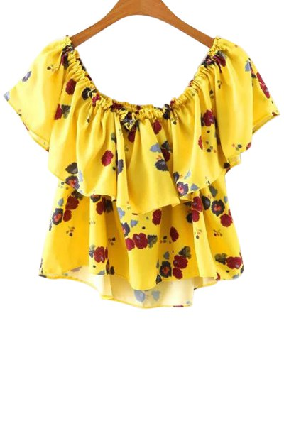 Cold Shoulder Printed Ruffle Top