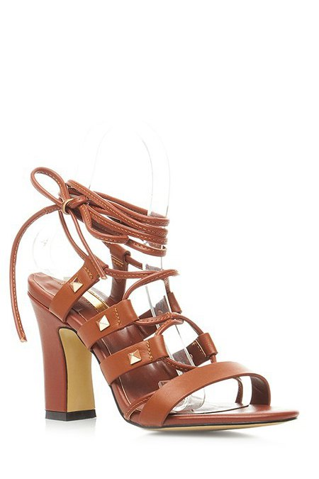 Buy Chunky Heel Rivet Lace-Up Sandals BROWN 34