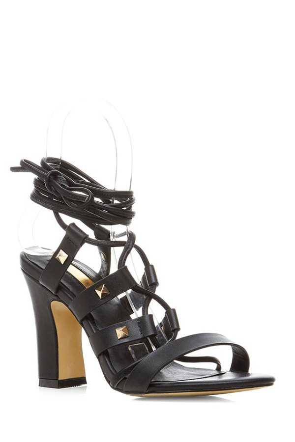 Buy Chunky Heel Rivet Lace-Up Sandals BLACK 38