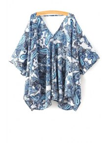 Paisley Print Half Sleeve Kimono Blouse