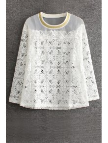 Buy Lace Spliced Round Collar Long Sleeve Blouse - WHITE M