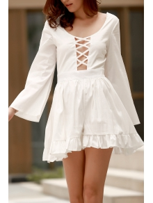 Backless Cross Hollow Out Long Sleeve Romper