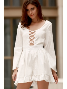 Backless Cross Hollow Out Long Sleeve Romper - WHITE ONE SIZE(FIT SIZE XS TO M)