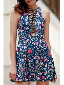 Flower Print Plunging Neck Sleeveless Dress