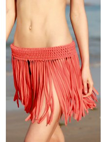 Tassels Crochet Solid Color Skirt - Jacinth