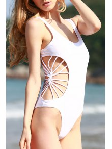 Cut Out Solid Color One Piece Swimwear - White L