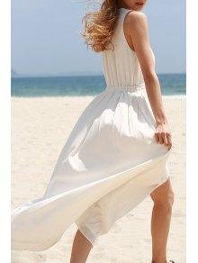 White High Slit Plunging Neck Sleeveless Chiffon Dress - White