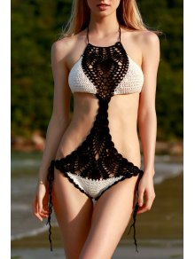 Lace Up Hit Color Crochet Halter One-Piece Swimwear