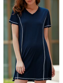 Loose Black V Neck Short Sleeve Dress - Purplish Blue