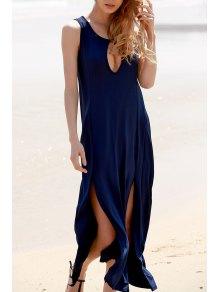 Keyhole Design High Slit Long Dress - Cadetblue