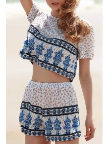 Cropped Short Sleeve Printed T-Shirt And Shorts Twinset - White