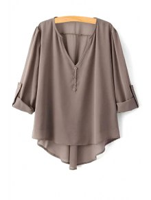 High Low Hem Long Sleeve Solid Color Peasant Blouse - Coffee