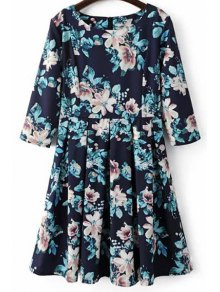 Beteau Neck Floral Print Midi Dress - Blue S