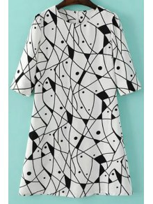 Abstract Print A-Line Dress - White M