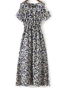 Tiny Flower Print Round Collar Cold Shoulder Dress - Purplish Blue