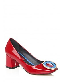 Buy Square Toe Metal Black Pumps - RED 39